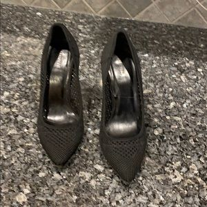 "Black knit 4"" closed toe heels, perfect condition"